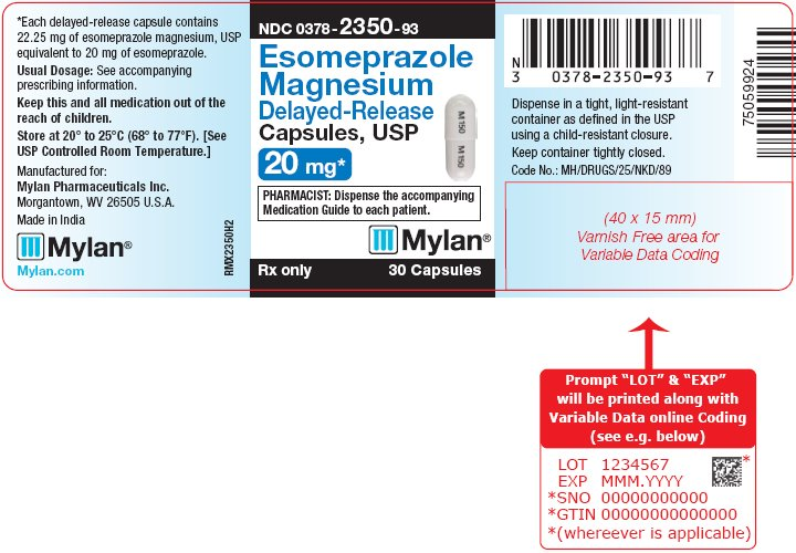 Esomeprazole Magnesium Delayed-Release Capsules 20 mg Bottle Label