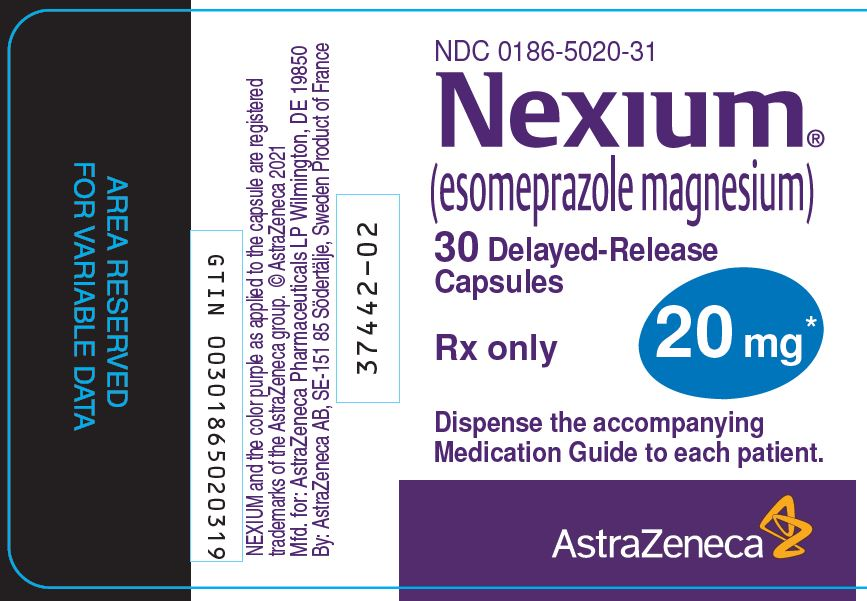 Nexium 20 mg 30 count bottle label
