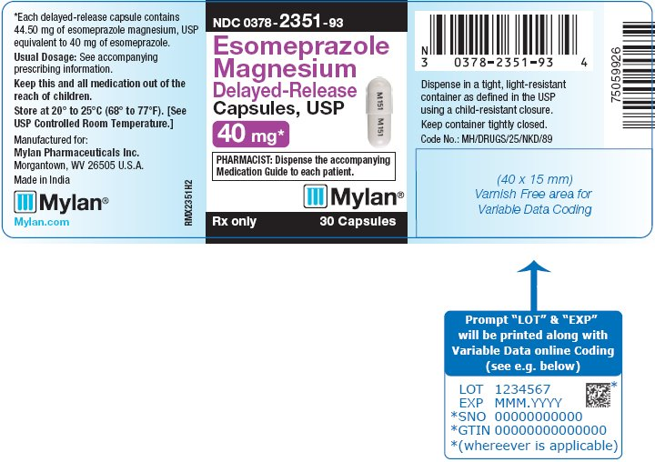 Esomeprazole Magnesium Delayed-Release Capsules 40 mg Bottle Label