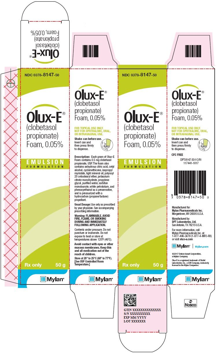 Olux-E Foam 0.05% Carton Label
