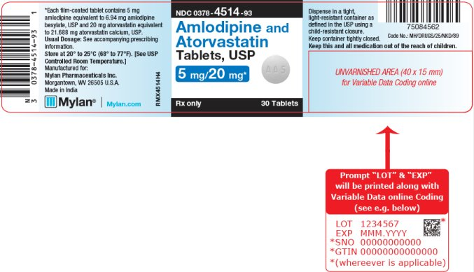 Amlodipine and Atorvastatin  Tablets, USP 2.5 mg/20 mg Bottle Label