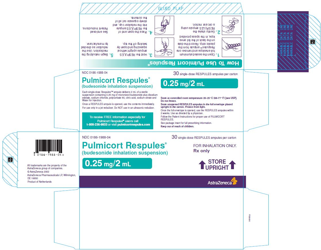Pulmicort Respules 0.25 mg/2 mL Carton Label 30 single-dose RESPULES ampules per carton