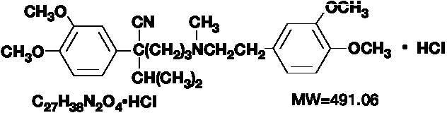 The structural formula of verapamil hydrochloride