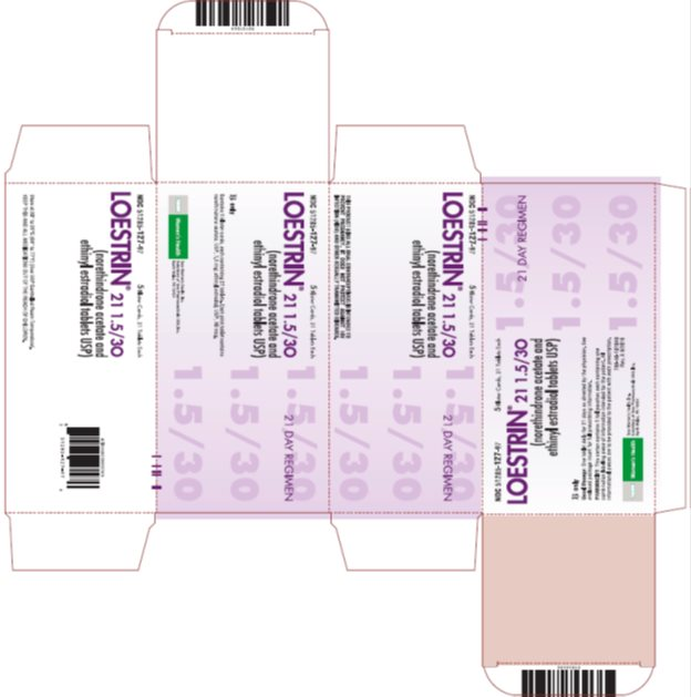 Loestrin® 21 1.5/30 (norethindrone acetate and ethinyl estradiol tablets USP) 21 Day Regimen, 5 Blister Cards, 21 Tablets Each, Carton
