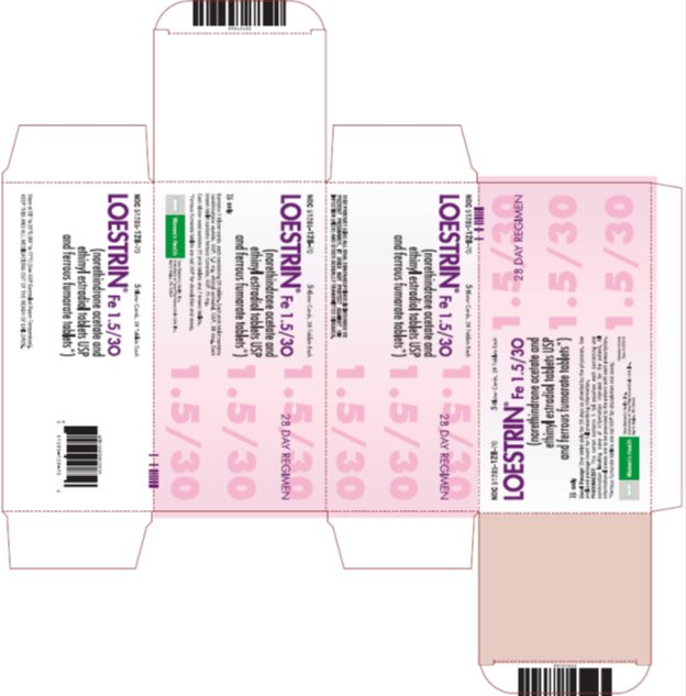 Loestrin® Fe 1.5/30 (norethindrone acetate and ethinyl estradiol tablets USP and ferrous fumarate tablets*) 28 Day Regimen, 5 Blister Cards, 28 Tablets Each, Carton