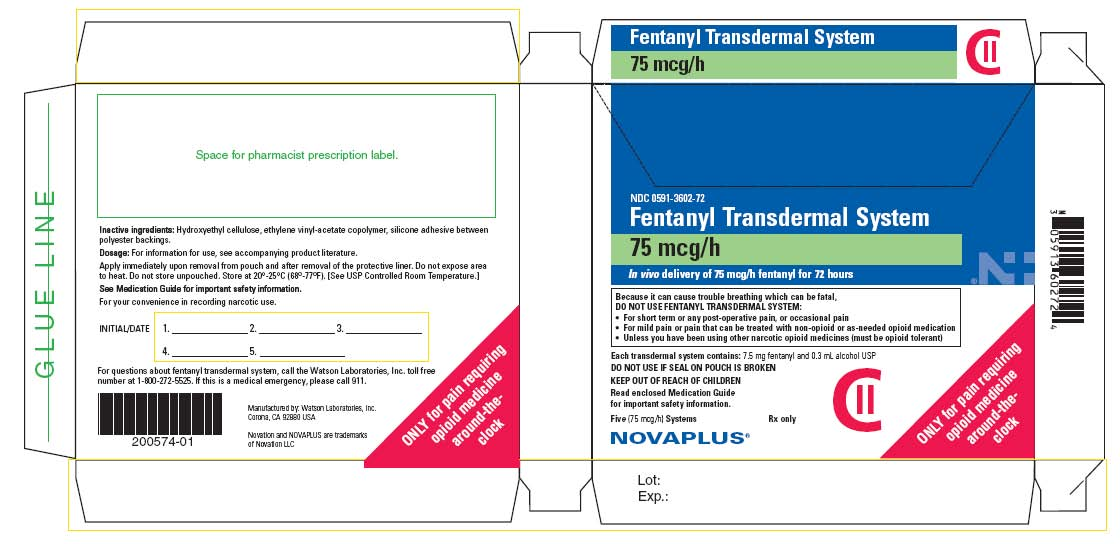 NDC 0591-3602-72 Fentanyl Transdermal System 75 mcg/h In vivo delivery of 75 mcg/h fentanyl for 72 hours Five (75 mcg/h) Systems Rx only CII NOVAPLUS®