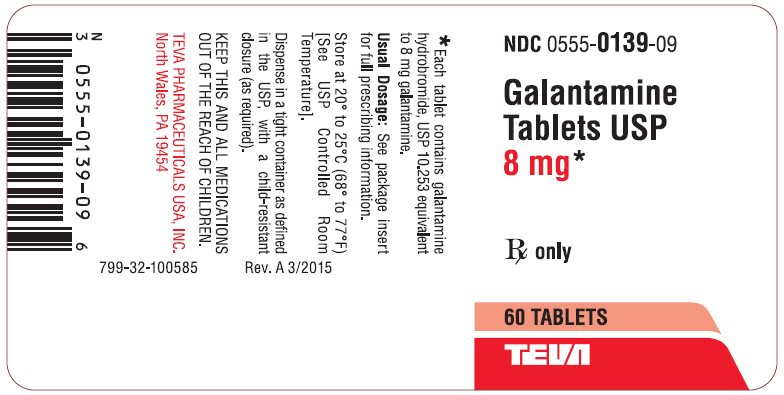 Galantamine Tablets USP 8 mg 60s Label