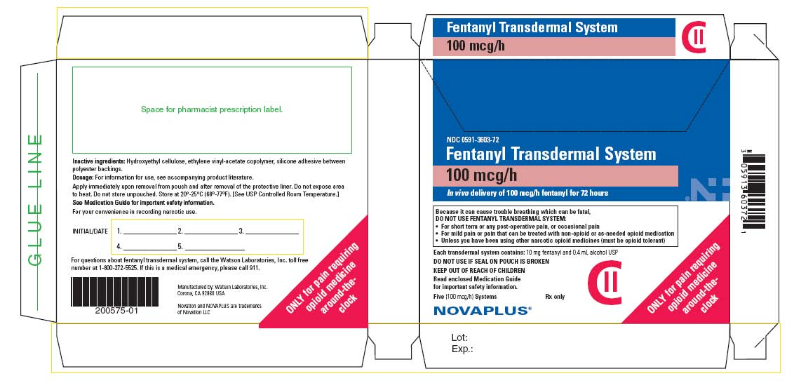NDC 0591-3603-72 Fentanyl Transdermal System 100 mcg/h In vivo delivery of 100 mcg/h fentanyl for 72 hours Five (100 mcg/h) Systems Rx only CII NOVAPLUS®