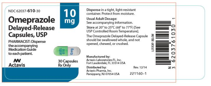 PRINCIPAL DISPLAY PANEL NDC 62037-610-30 Omeprazole Delayed- Release Capsules, USP 10 mg 30 Capsules Rx Only