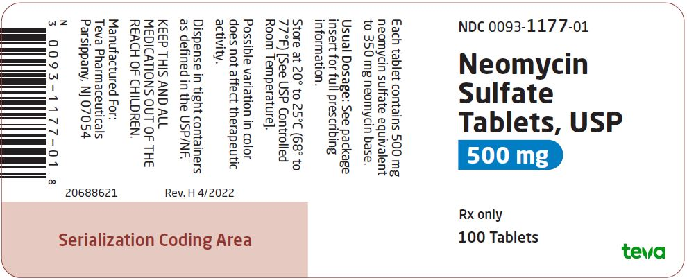 Neomycin Sulfate Tablets USP 500 mg 100s Label