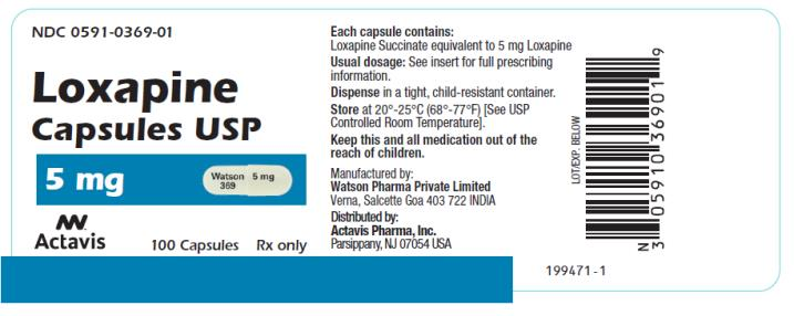 PRINCIPAL DISPLAY PANEL NDC 0591-0369-01 Loxapine Capsules USP 5 mg 100 Capsules Rx Only