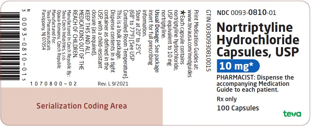 Nortriptyline Hydrochloride Capsules USP 10 mg 100s Label