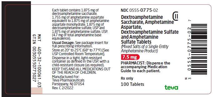 Dextroamphetamine Saccharate, Amphetamine Aspartate, Dextroamphetamine Sulfate and Amphetamine Sulfate Tablets 7.5 mg CII 100s Label