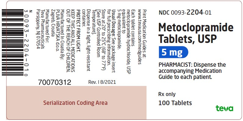 Metoclopramide Tablets USP 5 mg, 100s Label