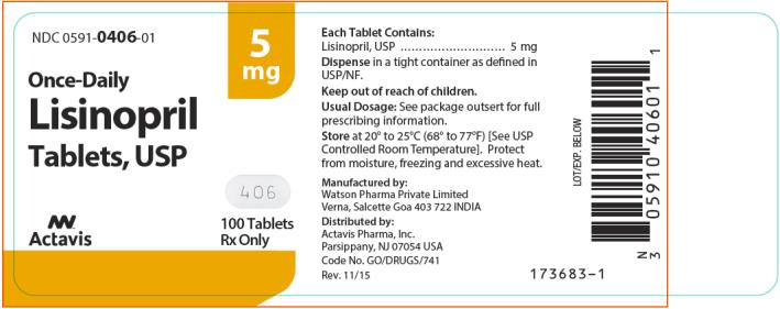 NDC 0591-0406-01 Lisinopril Tablets, USP 100 Tablets Rx Only