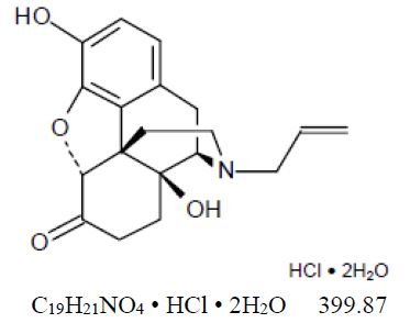 The following chemical structure of Naloxone hydrochloride dihydrate, USP has the molecular formula C19H21NO4 • HCl • 2H2O and the molecular weight is 399.87. It is a white to slightly off-white powder and is freely soluble in water, soluble in alcohol, and practically insoluble in toluene and ether.