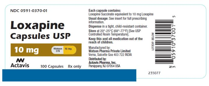 PRINCIPAL DISPLAY PANEL NDC 0591-0370-01 Loxapine Capsules USP 10 mg 100 Capsules Rx Only