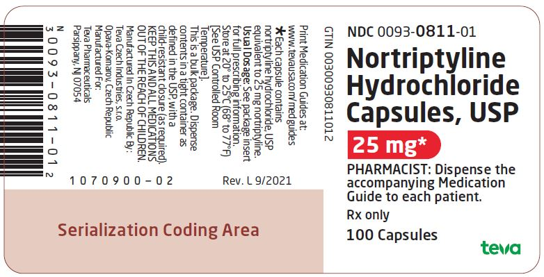 Nortriptyline Hydrochloride Capsules USP 25 mg 100s Label