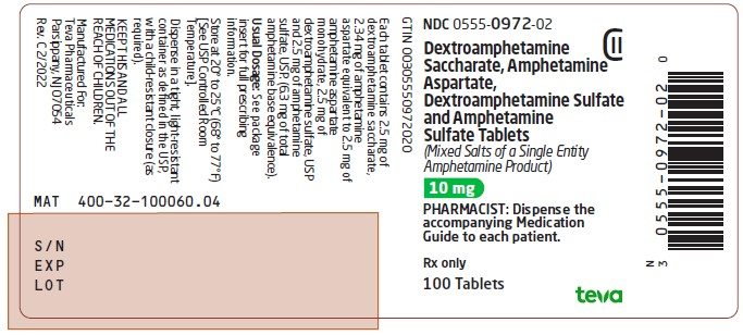 Dextroamphetamine Saccharate, Amphetamine Aspartate, Dextroamphetamine Sulfate and Amphetamine Sulfate Tablets 10 mg CII 100s Label