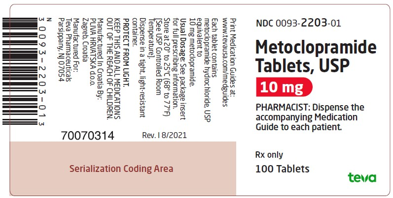 Metoclopramide Tablets USP 10 mg, 100s Label