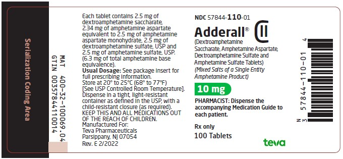 10 mg, 100 tablets label