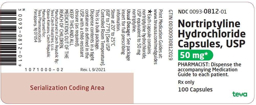 Nortriptyline Hydrochloride Capsules USP 50 mg 100s Label