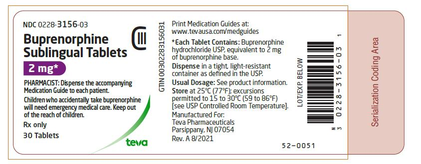 PRINCIPAL DISPLAY PANEL NDC 0228-3156-03 Buprenorphine Sublingual Tablets 2 mg 30 Tablets Rx Only
