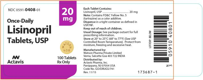 NDC 0591-0408-01 Lisinopril Tablets, USP 100 Tablets Rx Only