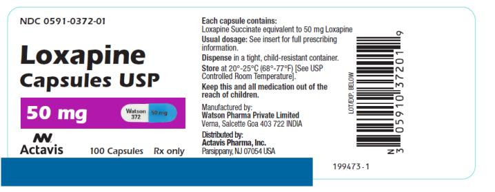 PRINCIPAL DISPLAY PANEL NDC 0591-0372-01 Loxapine Capsules USP 50 mg 100 Capsules Rx Only