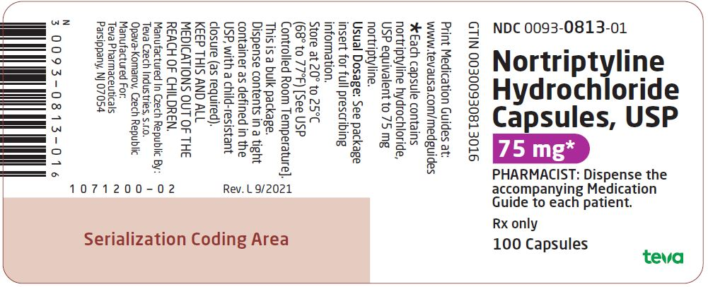 Nortriptyline Hydrochloride Capsules USP 75 mg 100s Label