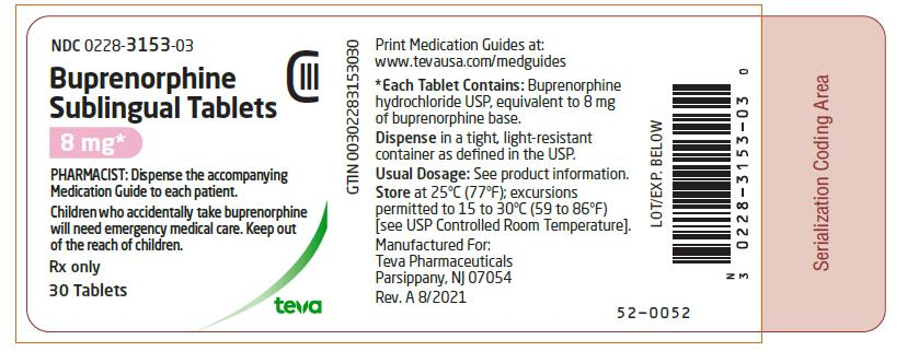 PRINCIPAL DISPLAY PANEL NDC 0228-3153-03 Buprenorphine Sublingual Tablets 8 mg 30 Tablets Rx Only