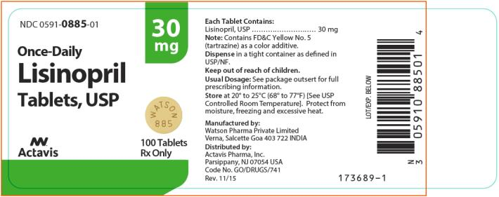 NDC 0591-0885-01 Lisinopril Tablets, USP 100 Tablets Rx Only