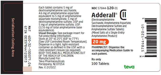 20 mg, 100 tablets label