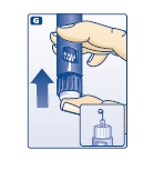 G - Giving the airshot before each injection - Press the push-button all the way in. The dose selector returns to 0