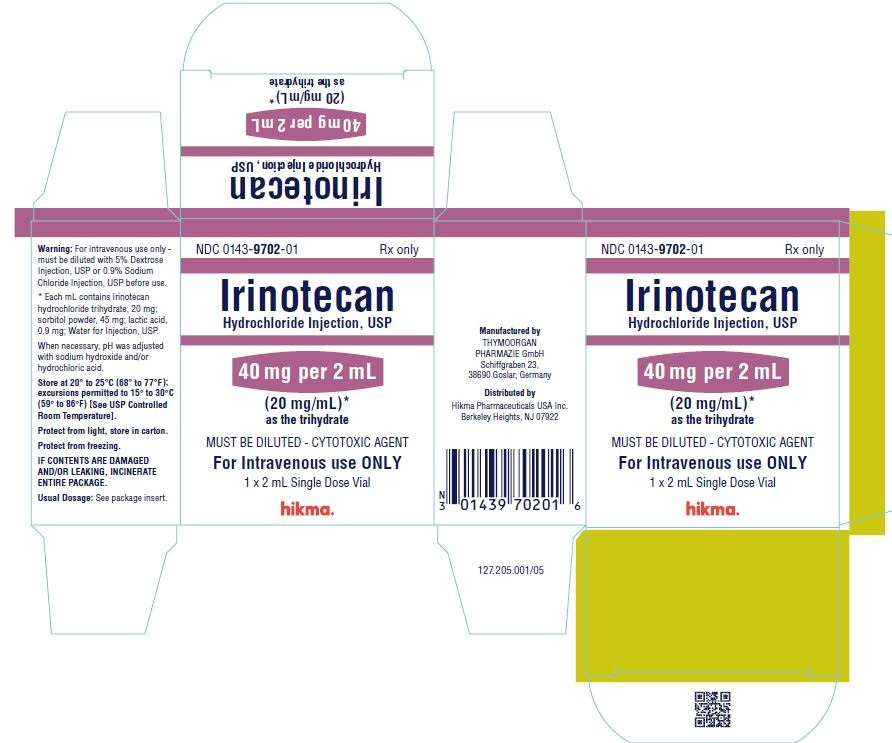 NDC 0143-9702-01 1 x 2 mL Single Dose Vial IRINOTECAN HYDROCHLORIDE INJECTION, USP 40 mg/2 mL (20 mg/mL)* as the trihydrate MUST BE DILUTED - CYTOTOXIC AGENT FOR IV USE ONLY Rx ONLY