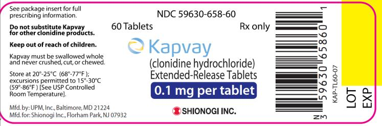 NDC 05630-658-60 60 Tablets Rx only Kapvay  (clonidine hydrochloride) Extended- Release Tablets  0.1 mg per tablet Distributed by: Shionogi Inc. Florham Park, NJ 07932