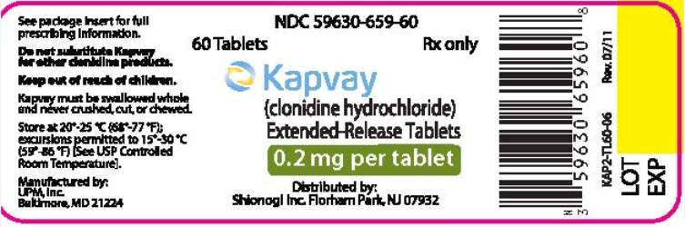 PRINCIPAL DISPLAY PANEL   NDC 05630-659-60 60 Tablets	Rx only Kapvay  (clonidine hydrochloride) Extended- Release Tablets  0.2 mg per tablet Distributed by: Shionogi Inc. Florham Park, NJ 07932