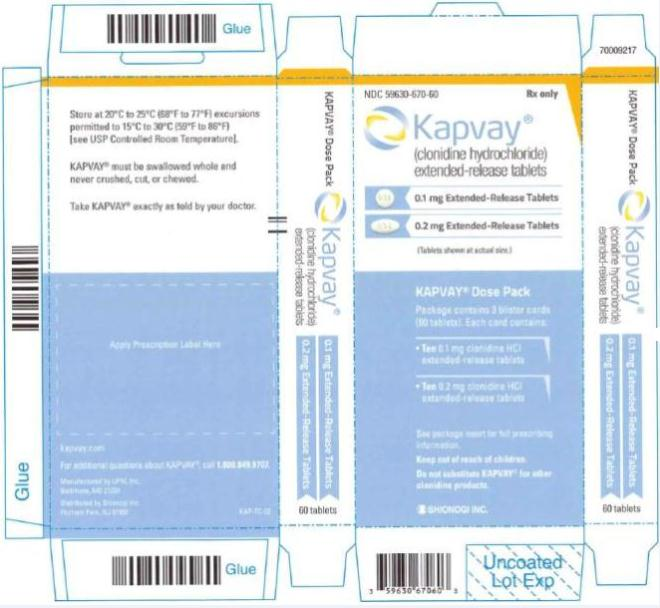 PRINCIPAL DISPLAY PANEL  NDC 59630-670-60	Rx only Kapvay®  (clonidine hydrochloride) extended-release tablets  0.1 mg Extended-Release Tablets  0.2 mg Extended-Release Tablets  KAPVAY Dose Pack Package contains 3 blister cards (60 tablets). Each card contains: • Ten 0.1 mg clonidine HCI  extended-release tablets • Ten 0.2 mg clonidine HCI  extended-release tablets SHIONOGI INC.