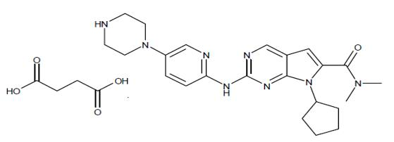 The Following chemical structure of KISQALI film-coated tablets are supplied for oral administration and contain 200 mg of ribociclib free base (equivalent to 254.40 mg ribociclib succinate). The tablets also contain colloidal silicon dioxide, crospovidone, hydroxypropylcellulose, magnesium stearate and microcrystalline cellulose. The film-coating contains iron oxide black, iron oxide red, lecithin (soya), polyvinyl alcohol (partially hydrolysed), talc, titanium dioxide, and xanthan gum as inactive ingredients.