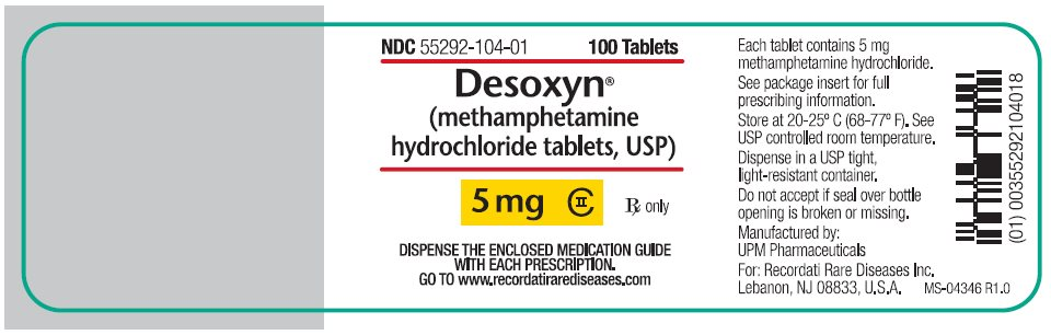 Desoxyn (methamphetamine hydrochloride tablets, USP) 5 mg label