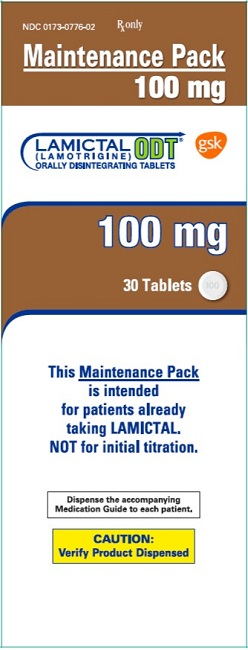 Lamictal ODT 100mg 30 count maintenance pack carton