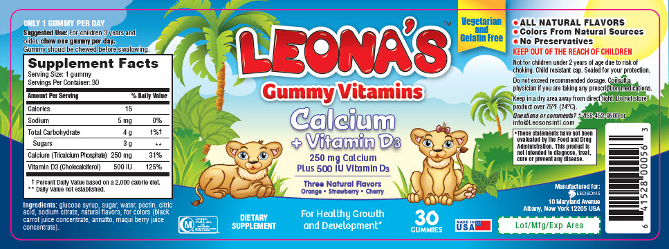 Leona S Gummy Vitamins Calcium Vitamin D3