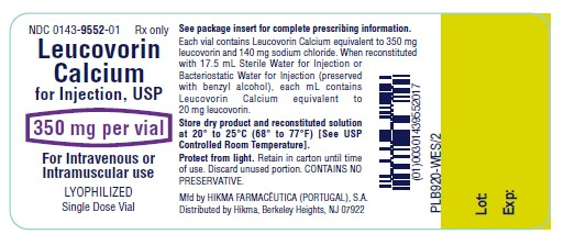 Leucovorin Calcium for Injection 350 mg/vial label