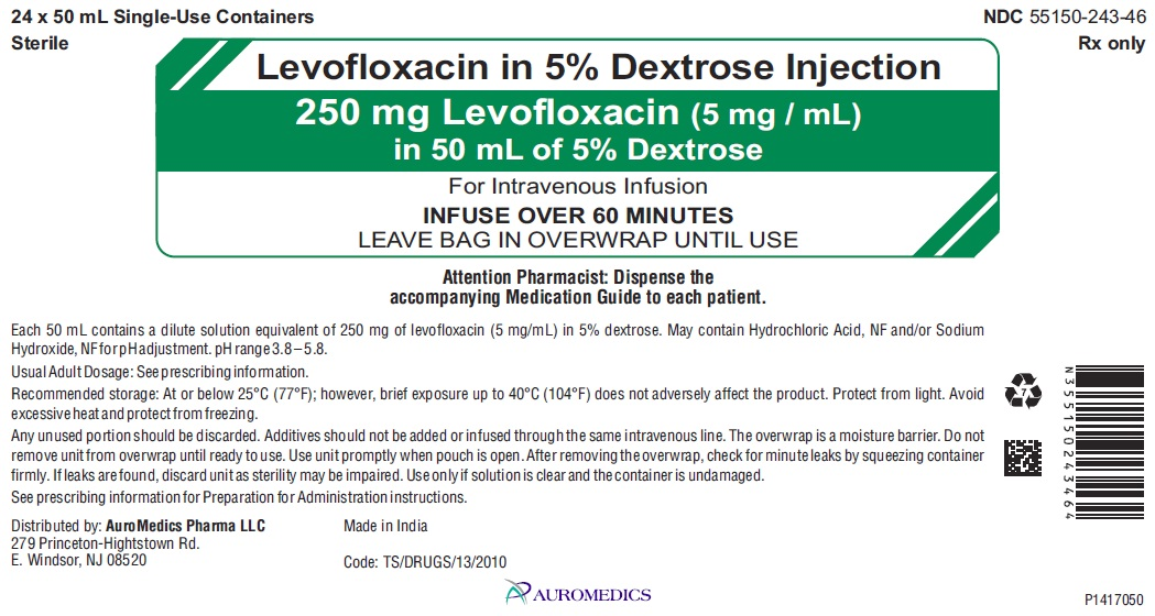 PACKAGE LABEL-PRINCIPAL DISPLAY PANEL - 250 mg Levofloxacin (5 mg / mL) in 50 mL of 5% Dextrose - Carton Label
