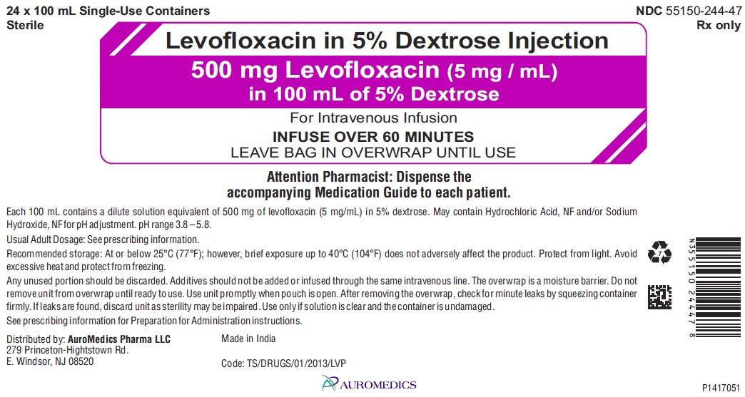 PACKAGE LABEL-PRINCIPAL DISPLAY PANEL - 500 mg Levofloxacin (5 mg / mL) in 100 mL of 5% Dextrose - Carton Label