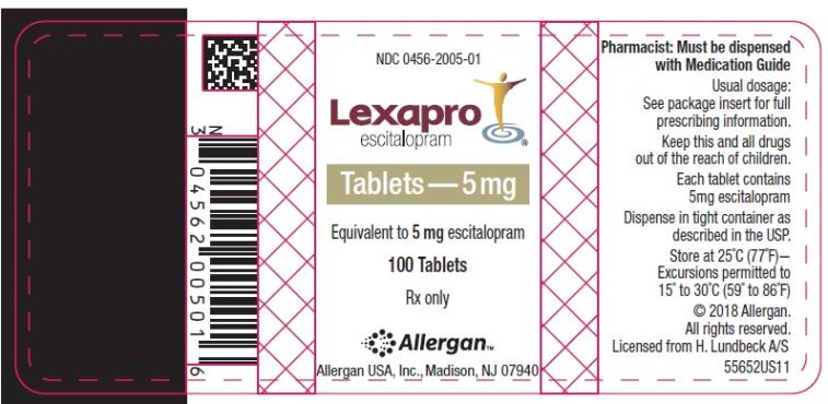 NDC 0456-2005-01 Lexapro escitalopram oxalate Tablets 5 mg 100 Tablets Rx Only