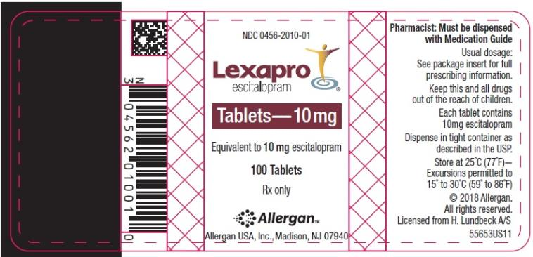 NDC 0456-2010-01 Lexapro escitalopram oxalate Tablets 10 mg 100 Tablets Rx Only