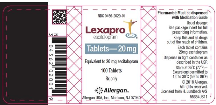 NDC 0456-2020-01 Lexapro escitalopram oxalate Tablets 20 mg 100 Tablets Rx Only