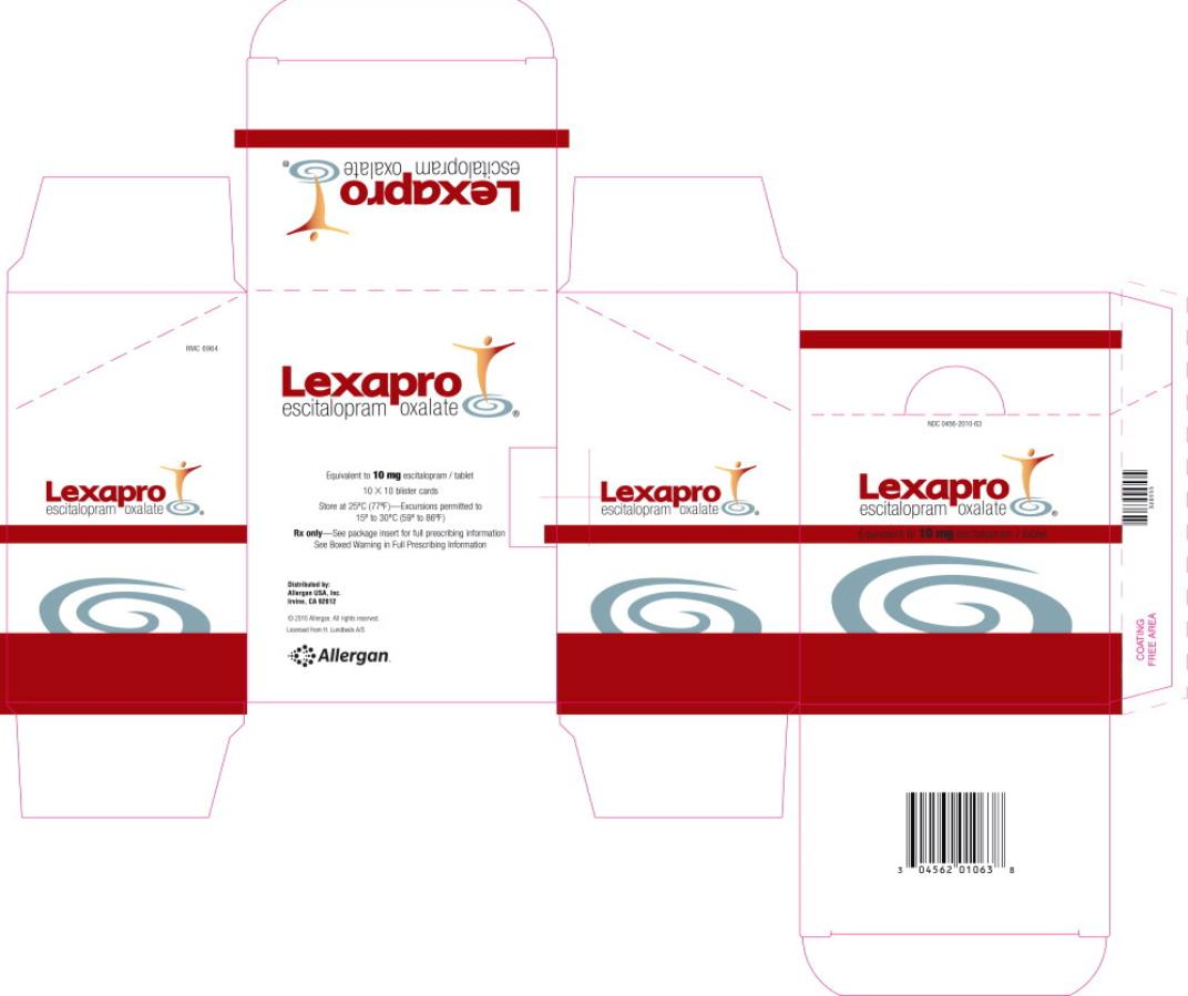 NDC 0456-2010-63 Lexapro escitalopram  Equivalent to 10 mg escitalopram/tablet Rx Only