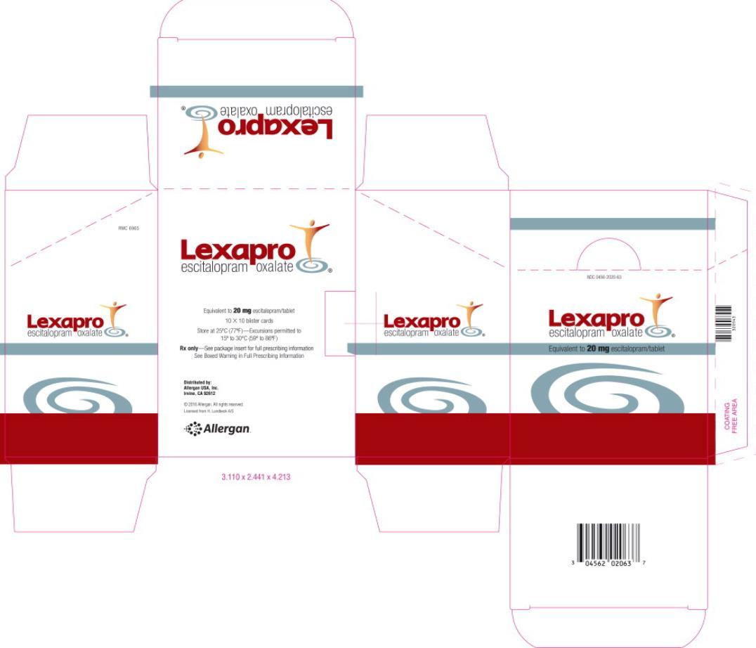 NDC 0456-2020-63 Lexapro escitalopram  Equivalent to 20 mg escitalopram/tablet Rx Only